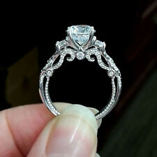 6e74b0a3b46 1.50ct Round Cut Diamond Filigree Vintage Engagement Ring 14k White Gold  Finish