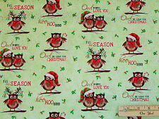 Owl be Home for Xmas Green Christmas Cotton Fabric 20