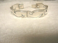 Vintage 925 Mexico Bracelet Sterling Silver Six Curved Links Serafin Moctezuma