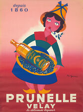 Original Vintage Poster Prunelle du Velay French Liquor 1950 Spirits