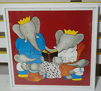 90S BABAR THE ELEPHANT FRAMED PRINT! CHILDRENS BOOK TV SHOW CHARACTER! STORYTIME