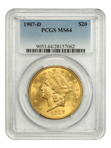 1907-D $20 PCGS MS64 - Liberty Double Eagle - Gold Coin - Tougher Date