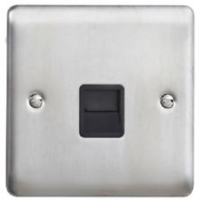 Homebase Noir Poli Nickel Flatplate 2 G Double prise de courant 13 A Noir Insert