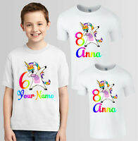 Personalised Dabbing Unicorn T-Shirt, Your Name & Age Boys Girls Gift Kids Top