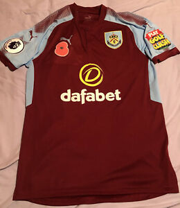 Burnley Match Worn / Issued Poppy Home Shirt James Tarkowski