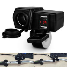 12V/24V Universal Waterproof ATV Boat Motorcycle Dual USB Charger LED Voltmeter