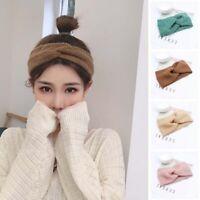 Ladies Autumn Headbands Women Wool Knitted Crochet Hair Band Turban Winter Cross