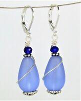 SEA GLASS Teardrop Cobalt Blue Swirl Silver LEVERBACK Earrings USA HANDMADE