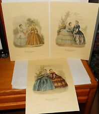 Three Journal des demoiselles hand colored engravings