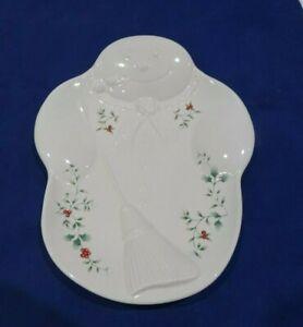 Pfaltzgraff Winterberry Christmas Snowman Serving Tray Plate Dish Decor