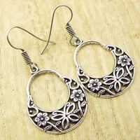 925 Silver Plated FLOWER ENGRAVED Moon Earrings 2 Inches, 4.9 Grams BESTSELLER