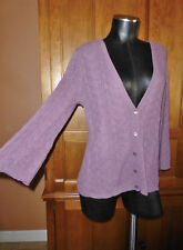 EILEEN FISHER Alpaca Wool Silk Lace knit V neck Bell Slv Cardigan Sweater sz S