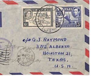 Commonwealth Airmail 1956 FIJI MIXED REIGNS Underpaid TAXE{samwells-covers} A350