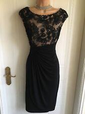 Elegant Black Size 6 (UK 10) Connected Apparel Knee Length Tapework Detail Dress