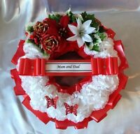 ARTIFICIAL CHRISTMAS WREATH FLOWERS RING MEMORIAL GRAVE ROSES RED WHITE HOLLY
