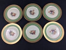 "Heinrich Selb Bavaria SIX (6) 11"" Gold Encrusted Green Floral Cabinet Plates"