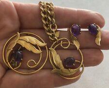 Vtg Sarah Coventry Purple Amethyst Brooch Bracelet Earring Set Demi Parure