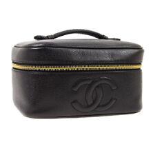 CHANEL CC Cosmetic Vanity Hand Bag 4297447 Purse Black Caviar Leather AK45609