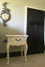 SHABBY CHIC CREAM  MARBLE  FRENCH WHITE ORNATE BED SIDE TABLE SIDE END TABLE