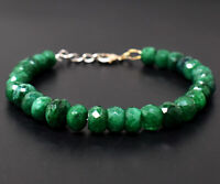 124 Cts Earth Mined 8 Inches Long Green Emerald Faceted Beads Bracelet JK-66E296