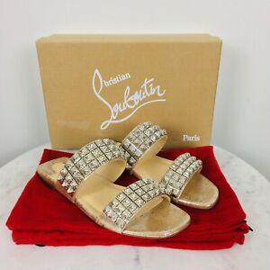 Christian Louboutin NWB MYRIADIAM Studded Silver Flat Slide Sandals 37.5/7.5