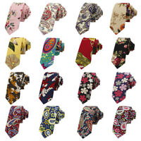 Men Colorful Floral Paisley Printed Necktie Wedding Party Cotton Men's Tie