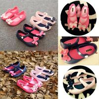 Kids Girls Toddler Cartoon Bow-Knot Cute Sandals Summer Jelly Rubber Shoes Size