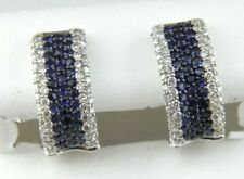 14k WHITE GOLD 0.85 DTW DIAMOND & BLUE SAPPHIRE HUGGIE EARRINGS