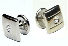 Silver Colour Square Cufflinks With Rhinestone
