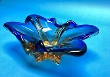 Hand Blown Art Glass Bowl Ashtray MCM Blue Gold Unsigned Murano Chalet Lorraine
