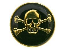 Skull & Crossbones 3/4 inch Dill Metal Button Gold & Black Color