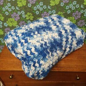 Vintage Blue White Mottled Large Knitted Blanket / Throw / Bedspread - marks