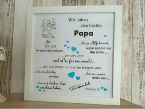 LED Bild Papa Geschenk Ideen  Vatertag Timer Herze Sterne Wohnzimmer Bilderrahm