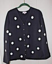 QUACKER FACTORY L Big Dot Sweater Rhinestone Buttons