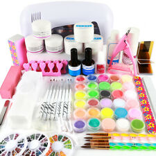 Acrylic UV Gel Powder Liquid Glitter LED Lamp Nail Art Kit Set Tools Brush File
