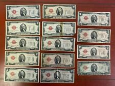 LOT OF (14) 1928  $2 Dollar Bill Red Seal United States Banknote Note (2)