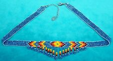 NATIVE AMERICAN INDIAN BEADED CHOKER NECKLACE BLUE