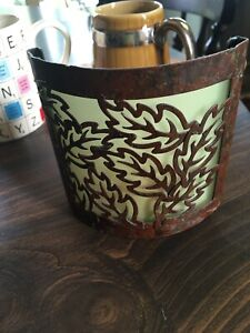 Copper& Glass  Candle Holder -1 side open - illuminates- 4 1/2 x 4 inches