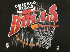 VTG 90s True Fan Sportswear NBA Chicago Bulls Logo Tee T Shirt Black X-Large XL