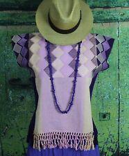 Hand Woven Huipil w/ Fringe on Back Strap Loom Mayan Chiapas Mexico Hippie Boho