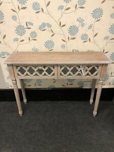 Beautiful & Compact Wood And Mirror 2 Drawer Console Table With Crystal Knob