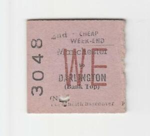 Railway Ticket BR Manchester to Darlington Bank Top 1970 2nd WE Return Edmondson