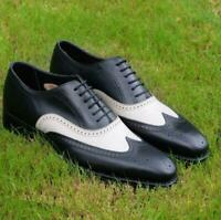 NEW-Handmade Mens wingtip two tone Black & White LEATHER shoes Men Dress brogue