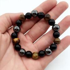 Tiger Eye Triple Protection Hematite Black Obsidian Beaded Bracelet Jewellery