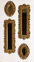 VINTAGE 1978 SET OF 4 HOMCO FAUX WICKER WALL DECOR MIRRORS