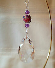 =^..^= Teardrop Suncatcher made with 50mm Swarovski 8721 Crystal LOGO Pnk Purple