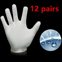 12 Pairs White Gloves Coin Jewelry Silver Inspection Cotton Soft Gloves 7in Long