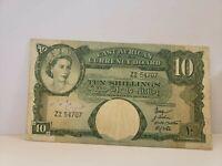 East Africa, 10 Shillings 1958-60, Pick 38,Z2 prefix  Q.Elizabeth VF