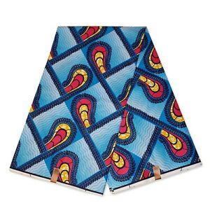 "African fabric BLUE wax print fabric "" Shapes "" Ankara kitenge wax cloth"