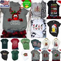 Womens O Neck Tee Tops Merry Christmas Print Short Sleeve Casual T-shirt Blouse